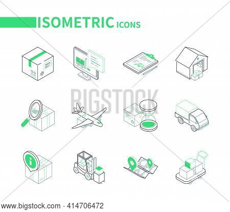 Transportation And Logistics - Line Isometric Icons Set