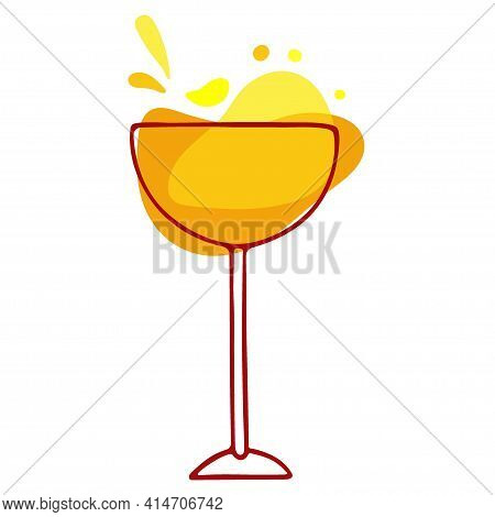 Mixed Drink. Bright Yellow Cocktail In Glass. Classic Margarita Cocktail. Exotic Tropical Beach Bar.