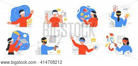 Augmented Reality Application Designs With People Wearing 3d Goggles Or Headsets In Virtual Surround