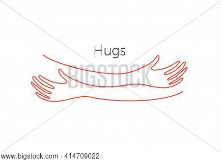 Embrace Icon, Arms Hugging Vector Illustration, Hands Hug Linear Vector Logo Template. Care, Love An