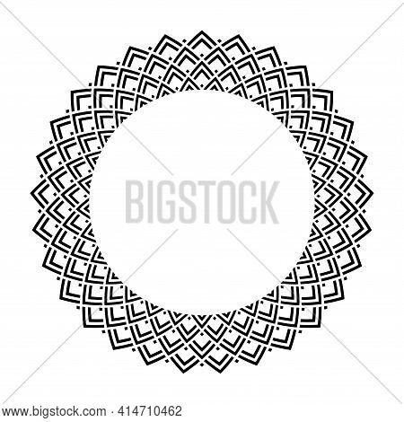 Abstract Decorative Geometric Circle Design Element For Round Frame. Vector Art.