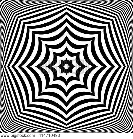 Abstract Op Art Symmetrical Lines Pattern With 3d Illusion Effect. Vector Art.