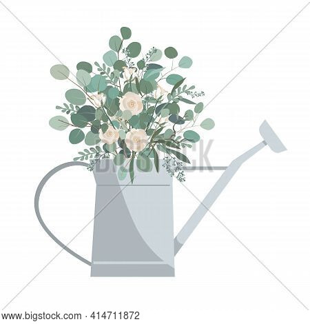 Watering Can With Eucalyptus Branches And Roses. Vector Illustration Isolated On White Background