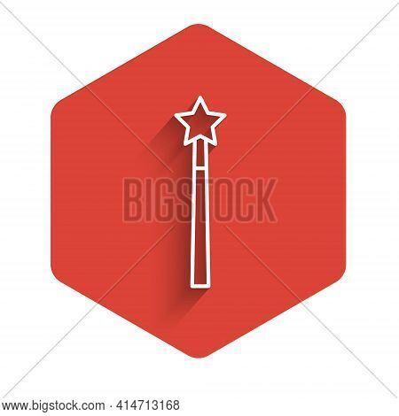 White Line Magic Wand Icon Isolated With Long Shadow. Star Shape Magic Accessory. Magical Power. Red