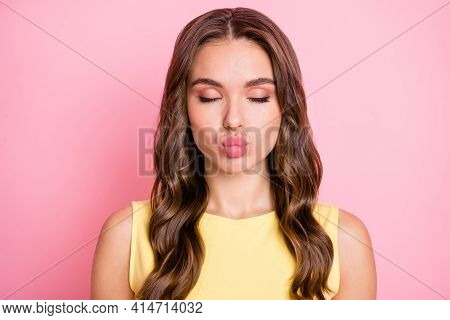 Portrait Of Young Attractive Pretty Sweet Nice Beautiful Girl Pout Lips With Closed Eyes Isolated On