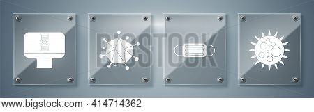 Set Virus, Medical Protective Mask, Virus And Dna Spiral And Computer. Square Glass Panels. Vector