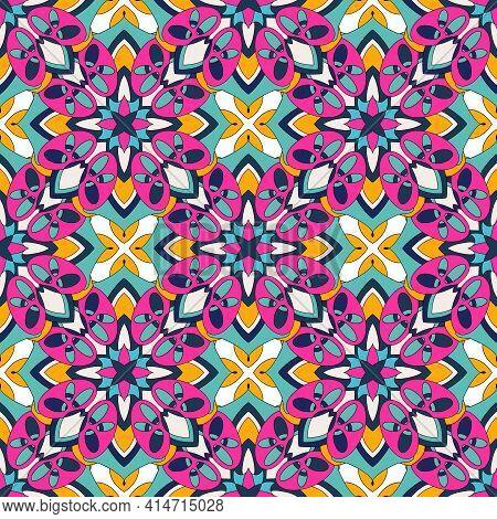 Arab Islamic Pattern. Outline Hand Drawn Illustration Of Arab Islamic Vector Pattern For Web Design