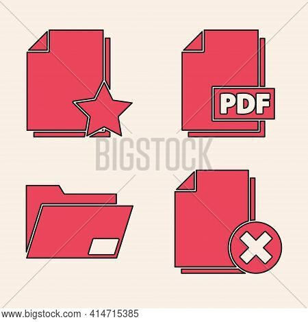Set Delete File Document, Document With Star, Pdf File Document And Document Folder Icon. Vector