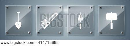 Set Sledgehammer, Trowel, Chainsaw And Shovel. Square Glass Panels. Vector