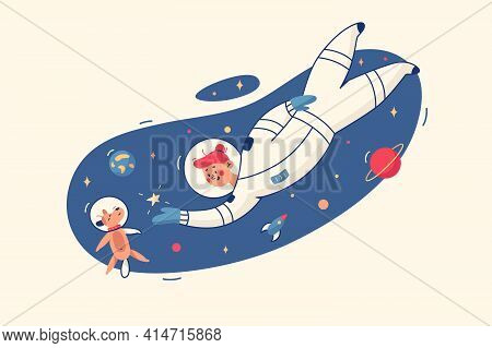 Woman And Dog In Space Vector Illustration