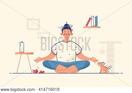 Woman Meditate At Home Vector Illustration. Calm