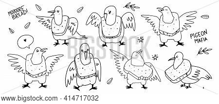 Cartoon Pigeons Birds With A Bread Necklace. Outline Hand Drawn Doodle Vector Illustration Of Doves.