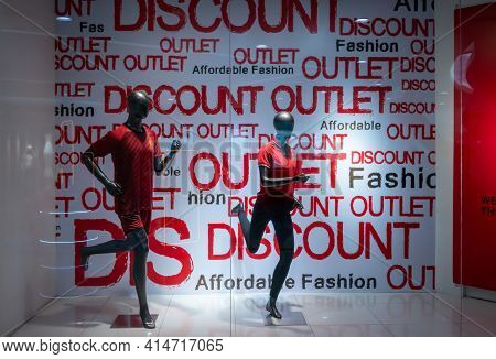 Discount Outlet Shop At Pardise Park, Bangkok, Thailand, Mar 21, 2021: Fashionable Export Clothing B
