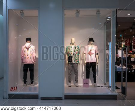 H&m Shop At Paradise Park, Bangkok, Thailand, Mar 21, 2021 : Fashionable Clothing Brand In Summer Co