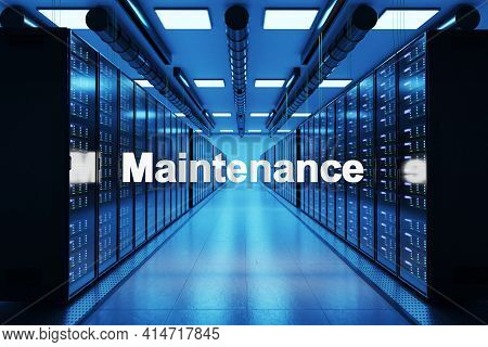 Maintenance Logo In Large Data Center With Multiple Rows Of Network Internet Server Racks, 3d Illust