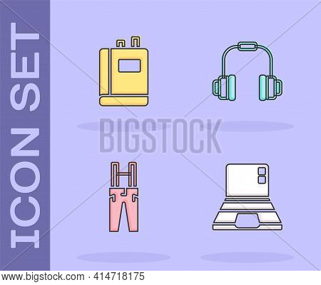 Set Laptop, Book, Pants With Suspenders And Headphones Icon. Vector