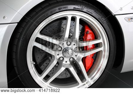 Kiev, Ukraine - August 21, 2011: Wheel Of The Car Mercedes-benz Slr Mclaren Stirling Moss. Car Wheel