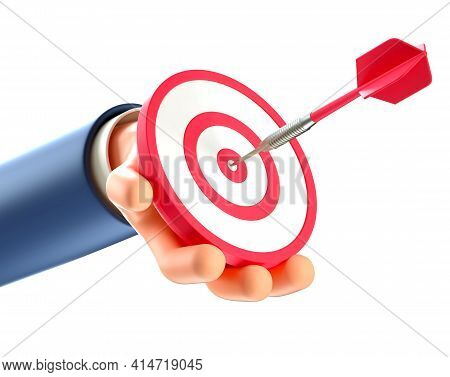 3d Illustration Of Businessman Hand Holding A Modern Target With A Dart In The Center, Arrow In Bull