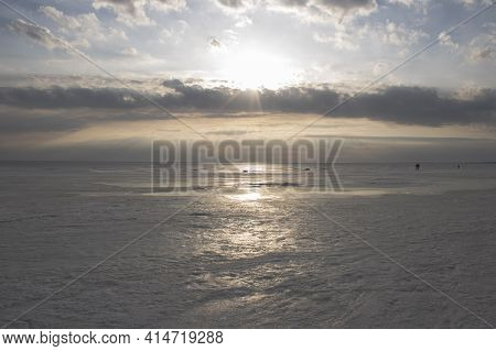 Evening Sunset Over The Gulf Of Finland. Spring Landscape.
