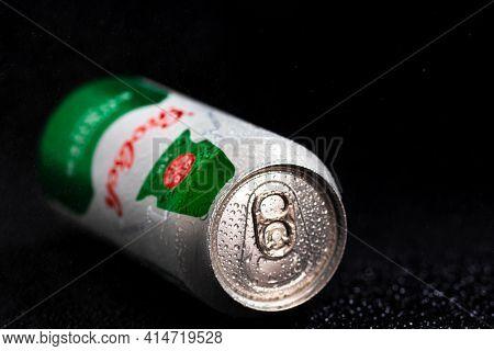 Water Droplets On Grolsch Premium Pilsner - Grolsch Premium Lager Beer Can. Studio Photo Shoot In Bu