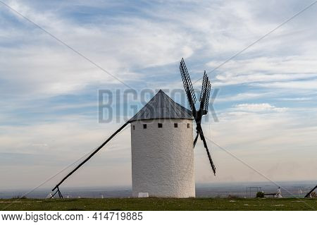 Close Up View Of A Historic Whitewashed Windmill In La Mancha