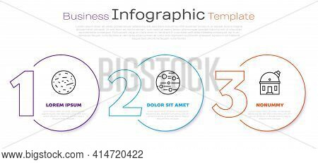 Set Line Planet Mars, Planet Mars And Astronomical Observatory. Business Infographic Template. Vecto