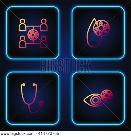 Set Line Reddish Eye Due To Virus, Stethoscope, Virus Spread And Blood Test And. Gradient Color Icon