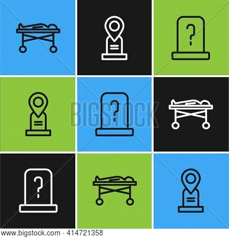 Set Line Dead Body In The Morgue, Grave With Tombstone And Location Grave Icon. Vector