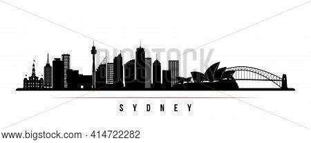 Sydney Skyline Horizontal Banner. Black And White Silhouette Of Sydney, Australia. Vector Template F