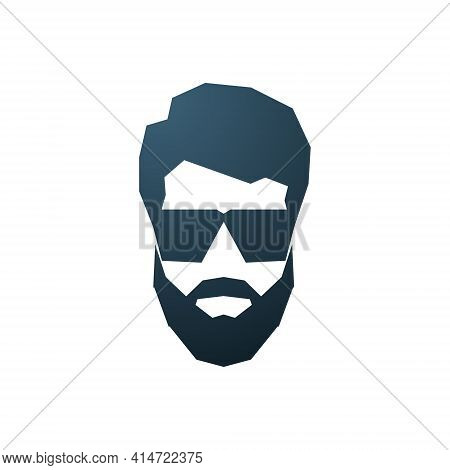Avatar Of Bearded Man. Hipster Icon With Sunglasses. Fashionable Silhouette Of Man. Stock Vector Ill