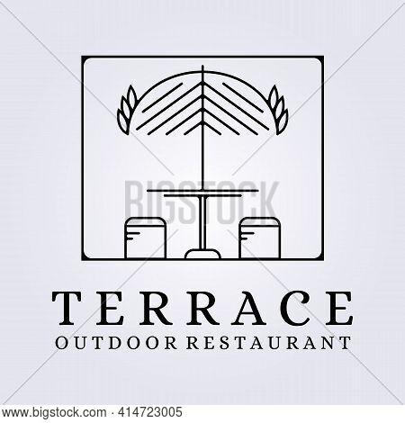 Modern Line Art Terrace Cafe , Restaurant , Coffee Shop Logo Icon Symbol Vector Illustration Design