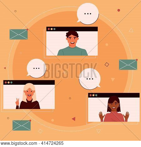 Video Conference, Video Call, Online Communication. Group Of Colleagues Or Students Of Different Nat
