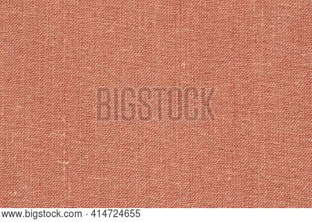 Fabric Texture Background, Fleecy Burlap Of Peach Color, Copy Space