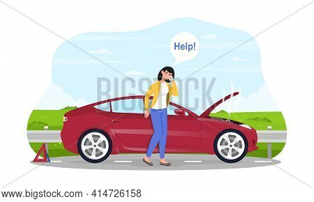 Breakdown Of The Car On The Road. A Woman Calls The Service To Help. 24 7 Technical Support. Flat Ca