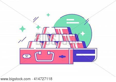 Icon Of Bank Storing Pyramid Of Ingots Of Golds. Concept Of Finance Symbol Guarding Service Using Fo