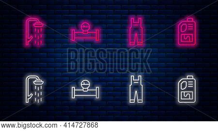 Set Line Industry Pipe And Manometer, Work Overalls, Shower And Drain Cleaner Bottle. Glowing Neon I