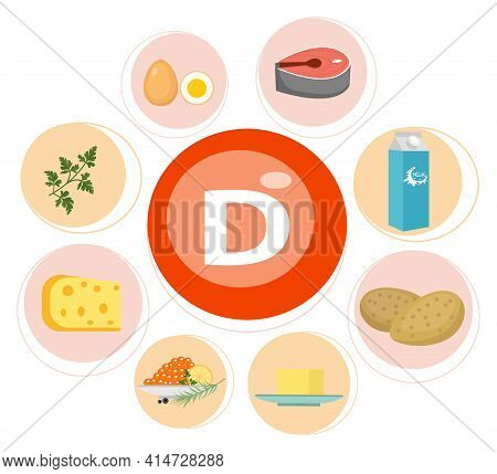 Vitamin D Vector Flat Illustrations. Foods Containing Vitamin D On The Table. Source Of Vitamin D: B