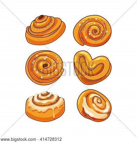 A Set Of Delicious Cinnamon Buns On A White Background. A Heart-shaped Bun. Vector Illustration