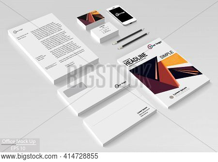 Business Corporate Identity Template Set. Vector Mock Up For Office. Brochure Flier Design Template