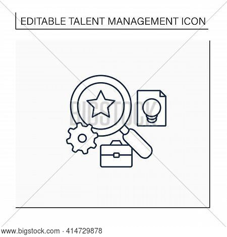 Talent Analytics Line Icon.software Gathers Insights Into Company Workforce, Potential Employees. Fi