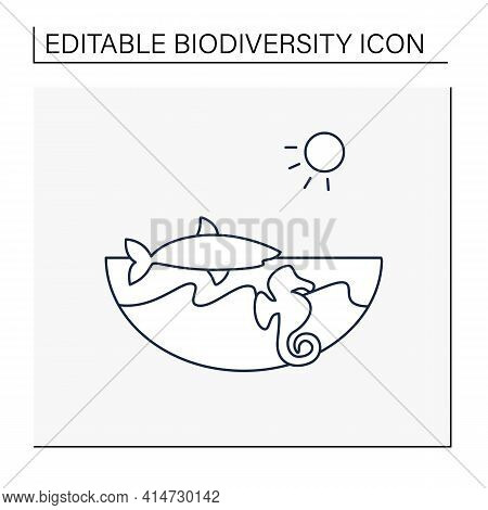 Marine Line Icon. Made Up Of The Saltwater Oceans. Living Place For Shark, Seahorse Etc. Underwater