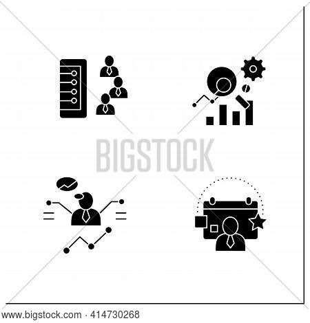 Customer Data Platform Glyph Icons Set. Client Database, Measurement Analytics, Predictions, Events.