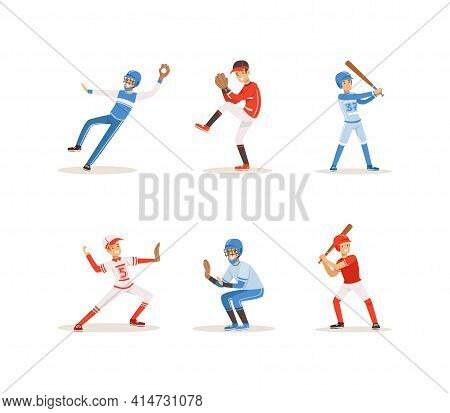 Baseball Players Set, Cheerful Softball Athletes Characters In Red And Blue Uniform Cartoon Vector I