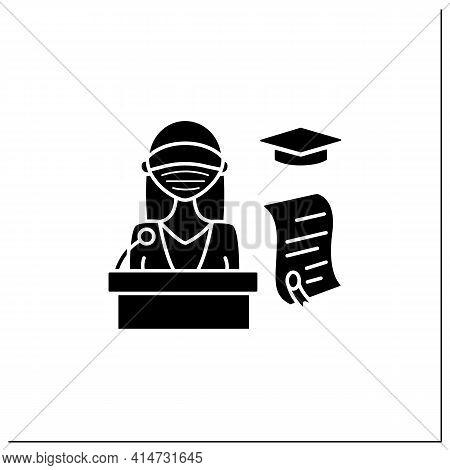 Graduation Ceremony Glyph Icon. Professor Gives Students Education Documents. Motivation Speech. Dip
