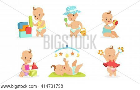 Infant Baby Different Activities Set, Adorable Baby Boys And Girls Playing Toys Cartoon Vector Illus