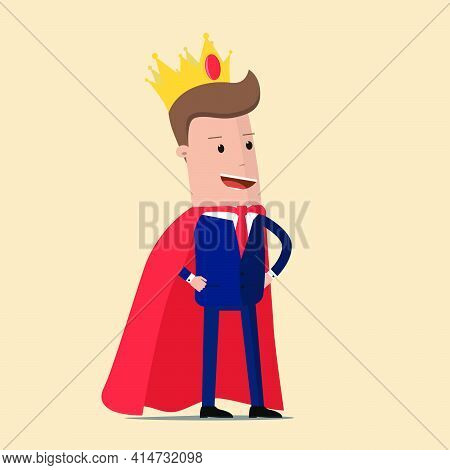 Successful Businessman. King Businessman. Businessman With The Crown On His Head. Vector Illustratio