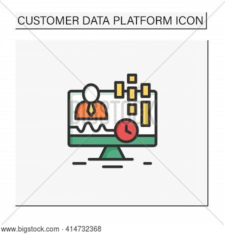 Real-time Customer Data Color Icon. Concentrates On Real-time Data Captured From Clients. Customer D