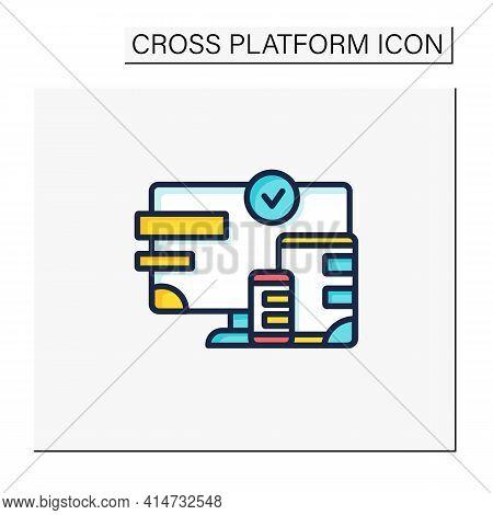 Cross Platform Design Color Icon. Website Design. Icons, Appearance, Labels. Creating On Laptop. Dig