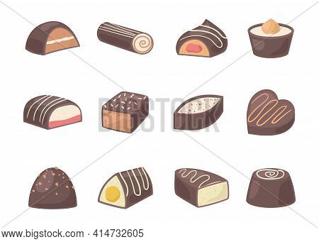 Cartoon Color Chocolate Covered Bonbon Icon Set. Vector