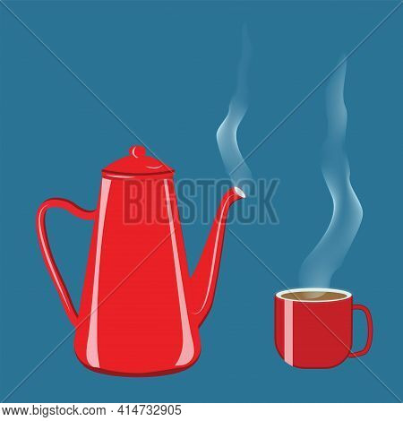 Coffee Pot And Mug With Steam, Red Enamel - Vector. Hot Drinks .